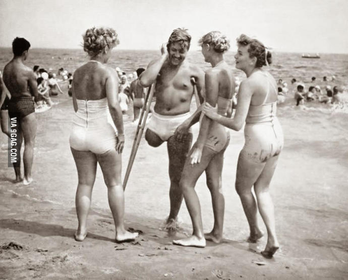 Girls, do you like this photo? Admired one-legged war hero (USA 1950s)?