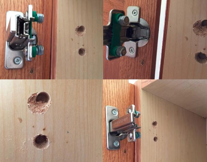 How do I fix this wood cabinet door where the screws have pulled out (picture)?