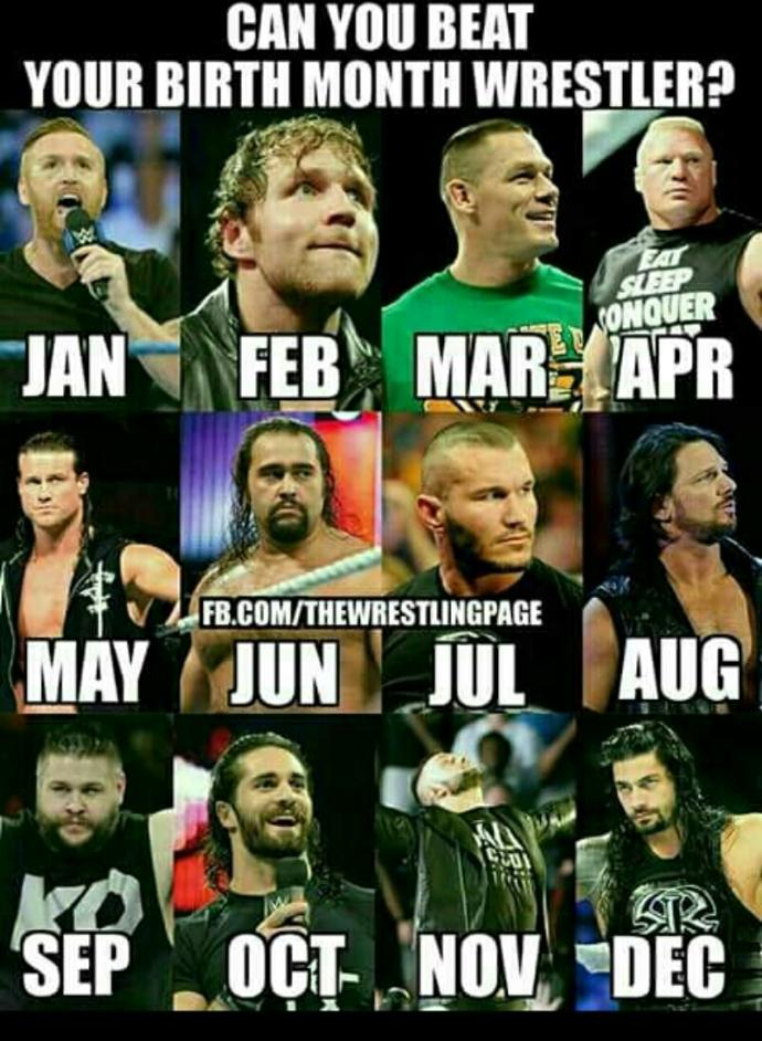 Can you beat your birth month Wrestler 👊👊?