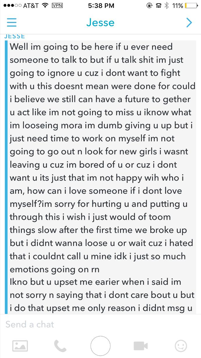 Ok so this is an update of my last post we actually did break up on oct 8th and this is what he said. Please help me?