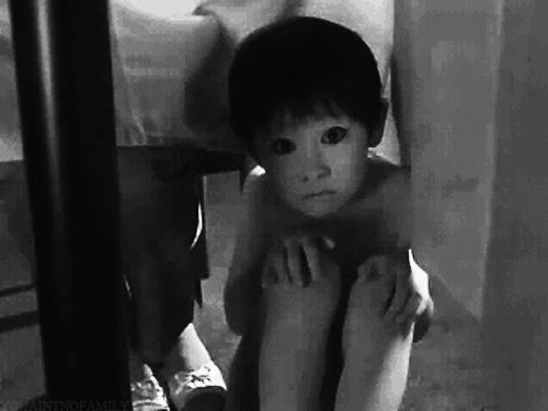 How would you react if you see this Japanese ghost boy from the Grudge in your closet, out of no were?