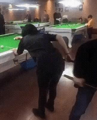 What do you think of this pool stick to the butthole, crotch and mouth gif animation?