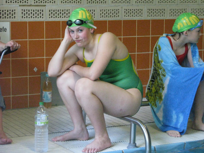Why does my swim team mate look so glum?