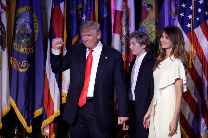What the hell is up with Barron Trump's walking and body language?