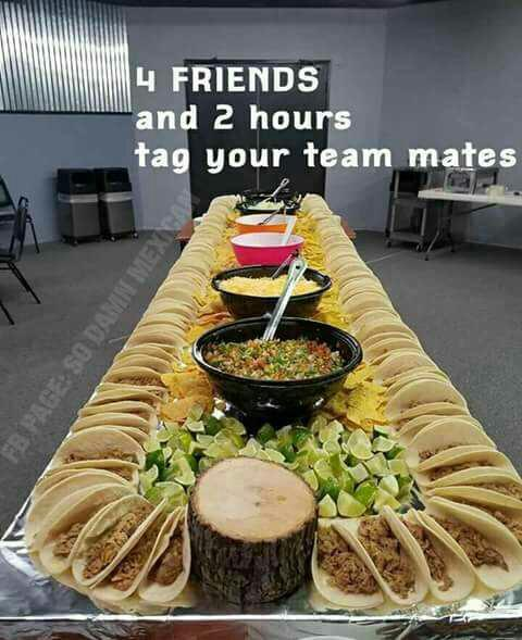 Would you and your friends tackle this big Taco buffet in 2 hours??