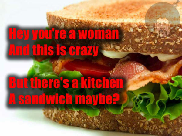 Girls, if your boyfriend politely requested for you to make him a sandwich naked, would you do it?