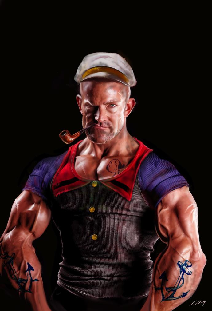 How many biceps curl reps do I have to excercise to get arms like popeyes?