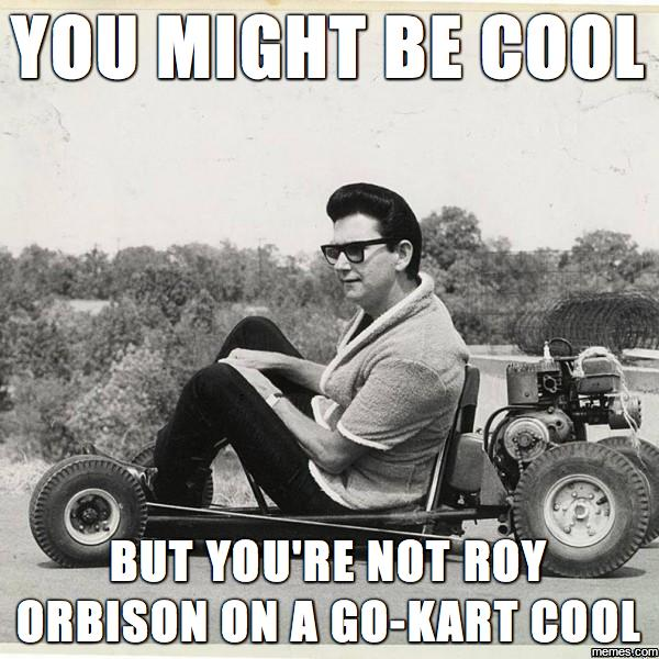Did you know you're not Roy Orbison on a go-kart cool?