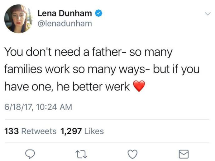What do you think of Lena Dunham's father's day tweet?