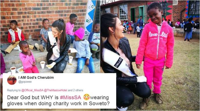 Why is wearing latex gloves at racist for Miss South Africa at the soup drive? Would you wear gloves?
