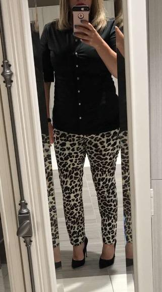 "Friends Monday outfit. Sassy leopard pants, black top, and 4.75"" black suede stilettos. Like?"