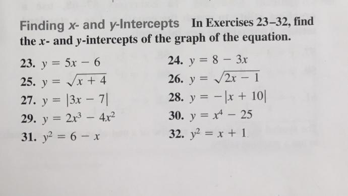 How do I find the x & y intercept of a equation with exponents????!!!?