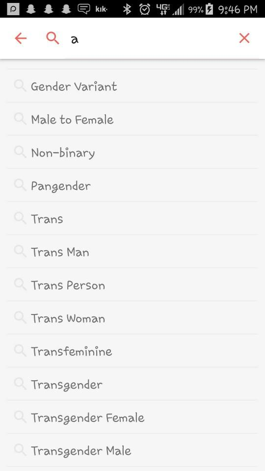 has anyone noticed how many genders you could identify as on tinder??