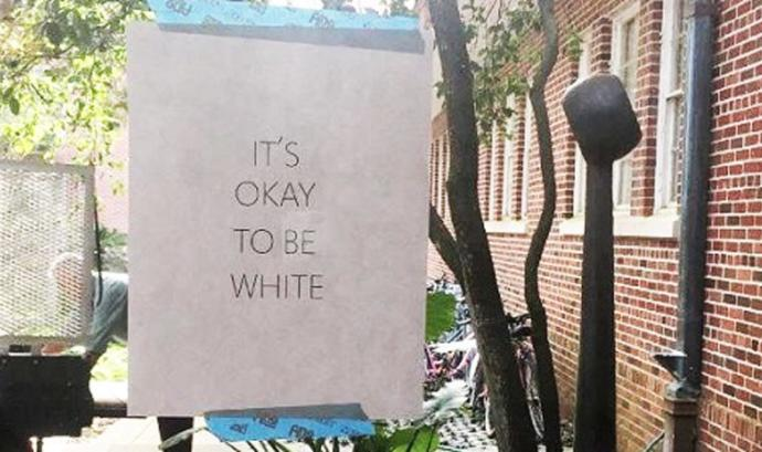 "Why are liberals losing their shit over ""it's ok to be white"" signs? Is it not ok to be white?"