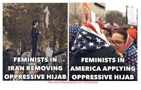 Hijab. While feminists in the middle East are removing theirs as it's oppressive western feminists are promoting it. Thoughts?