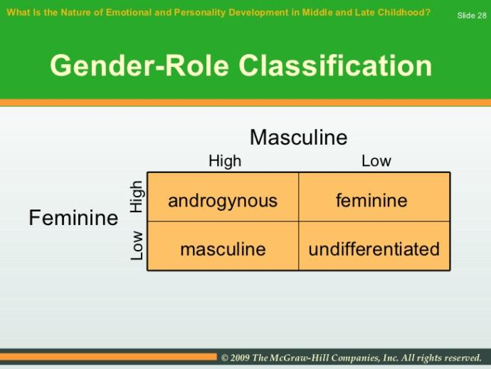 Are you feminine, masculine, androgynous, or undifferentiated?