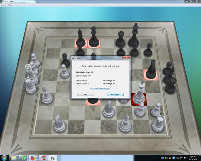 Does my Level 10 record of 3-95-2 after my 100th all-time game stink big time on Chess Titans, a Windows 7 game?