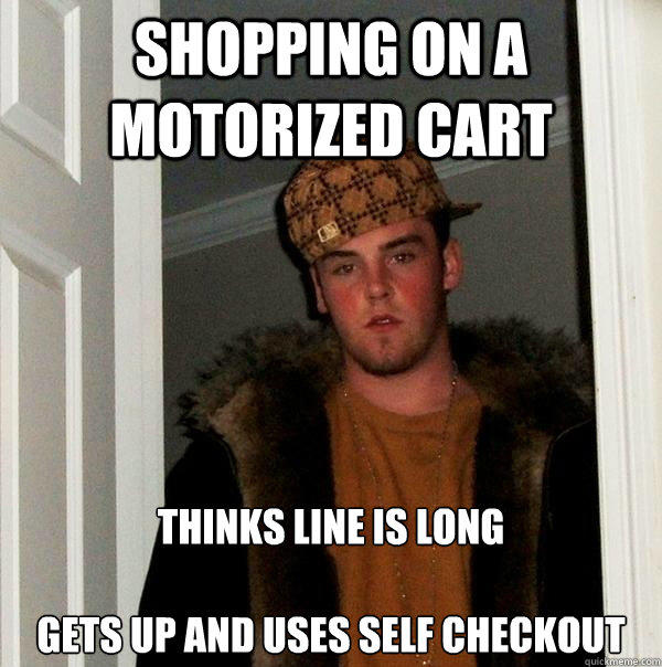 How would you react if while shopping you caught a person who isn't handicapped using a motorized cart?