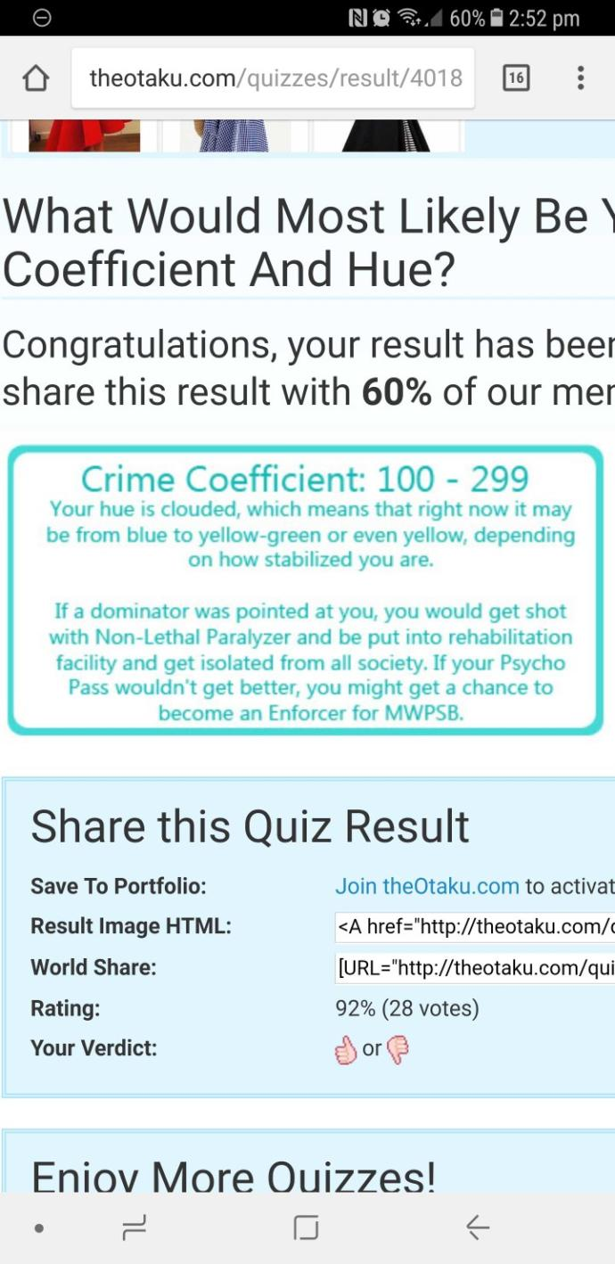 What's your crime coefficient and hue colour??