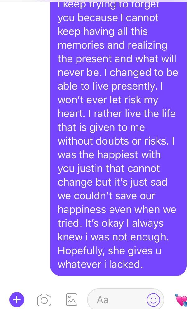What do you guys thing of this message I send my ex after he accused me of being the one that ruin our relationship?