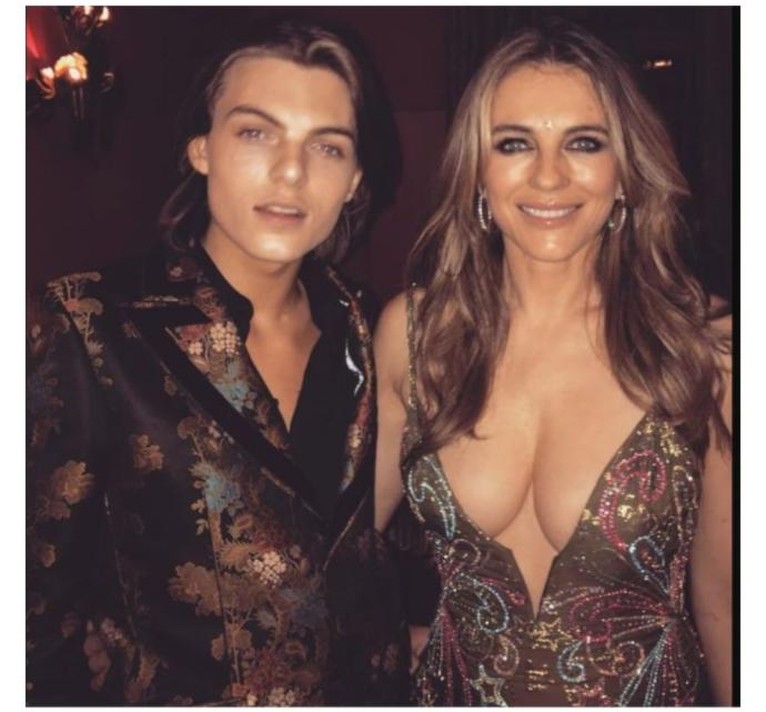 Is this dress worn by Elizabeth Hurley inappropriate for her age and the occasion?