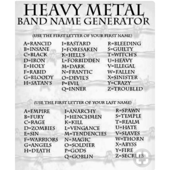 For fun, what's your heavy metal name?