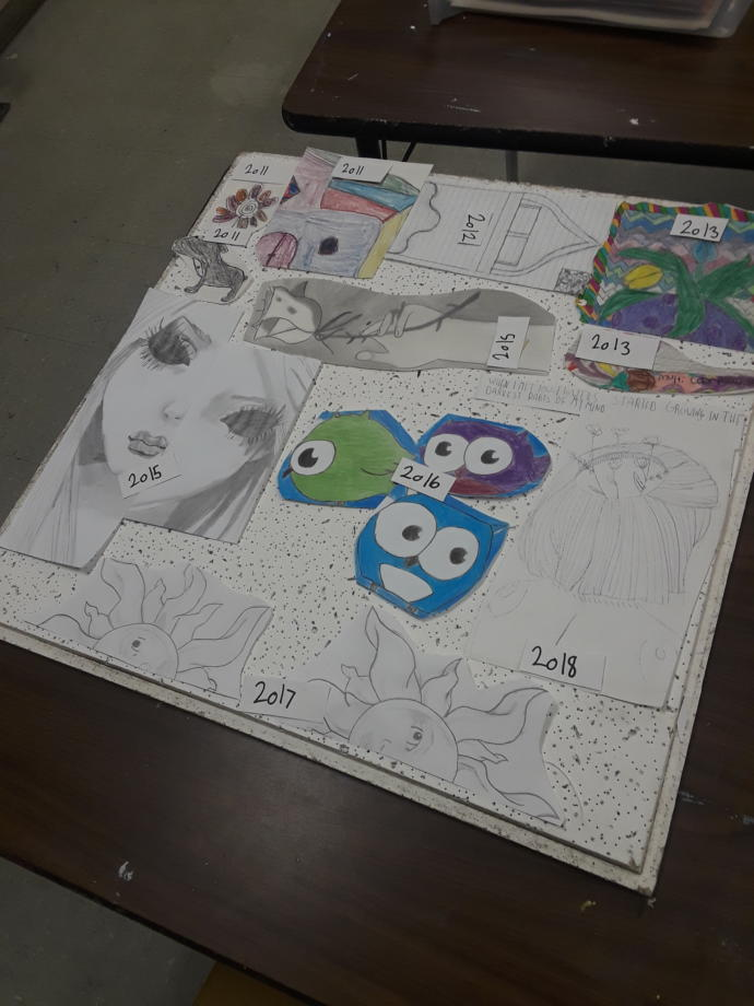 How does my ceiling tile look it has the year I made then....its not done yet ?