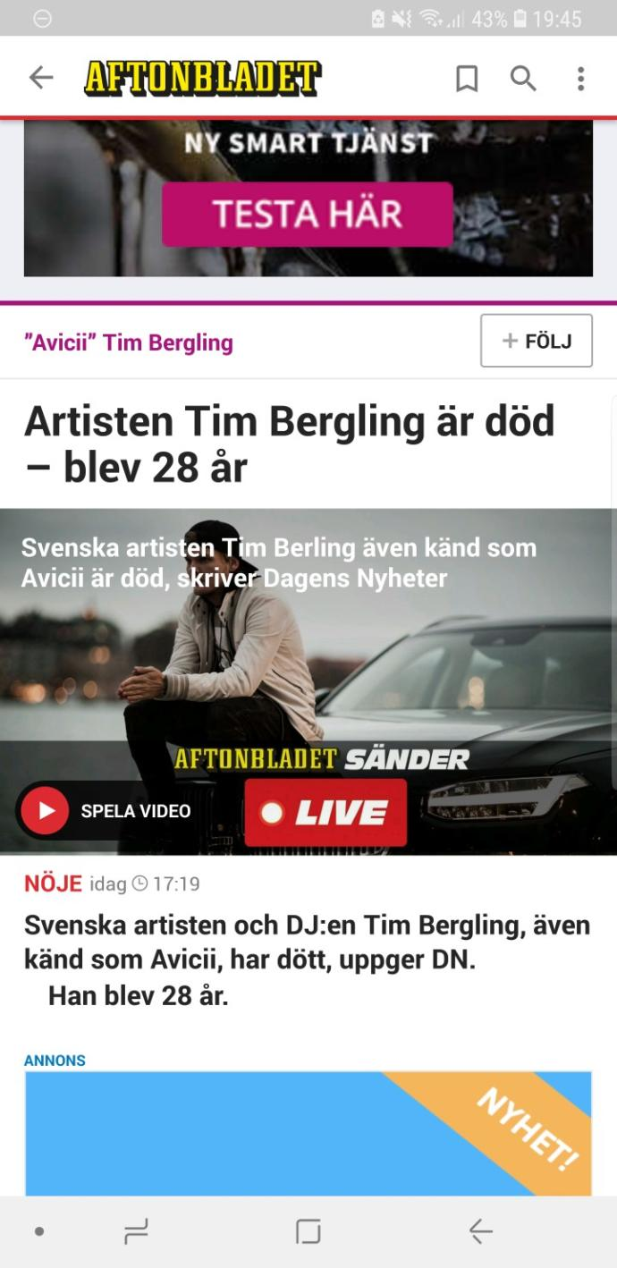 The Dj Avicii died today, how do you feel? Did you listen to his songs?