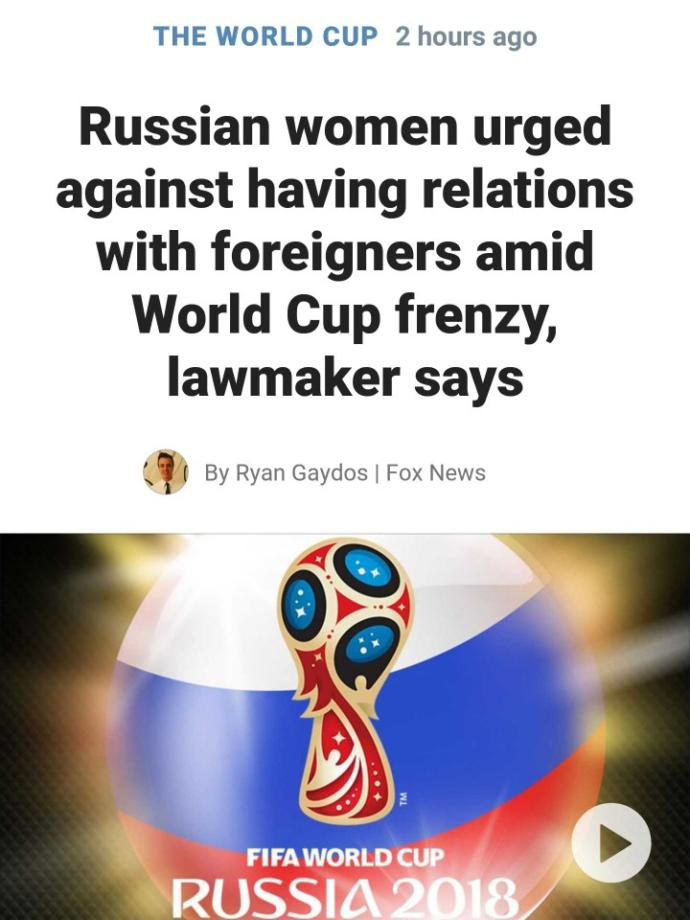 Do you think Russian women shouldn't have random hookups with foreigners during the World Cup?