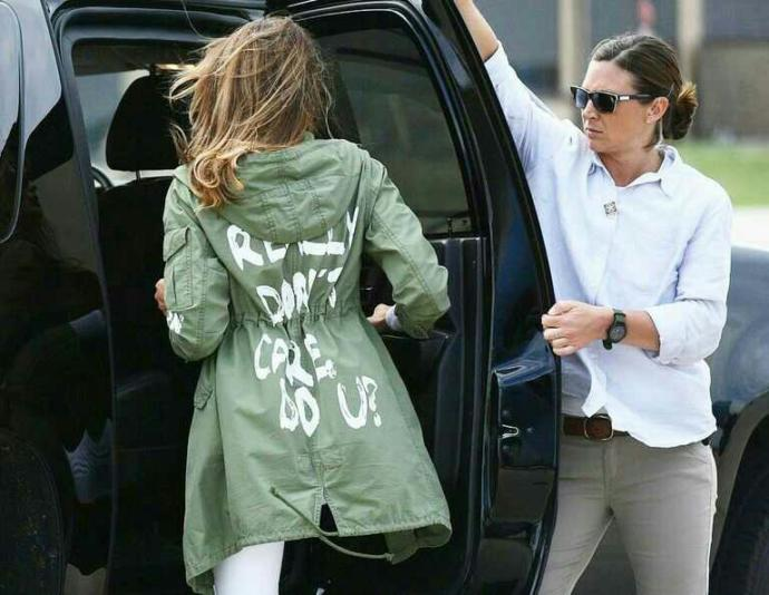 What do u think of Melania Trumps's jacket which she wore during a visit to detained immigrant kids?