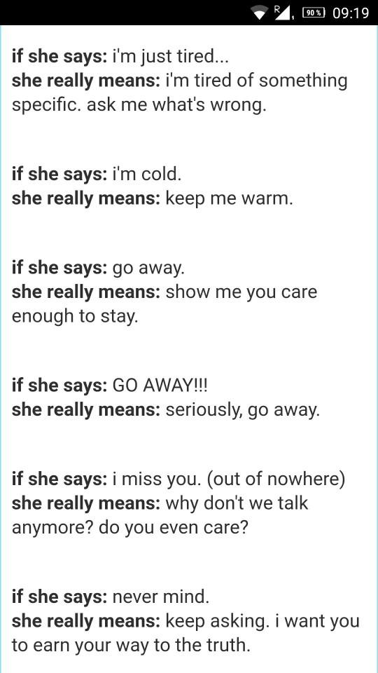 What she says and what she means?