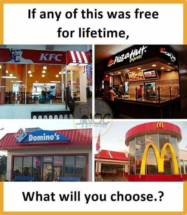 If any of these fast food places was free for a lifetime which one would you choose and why?