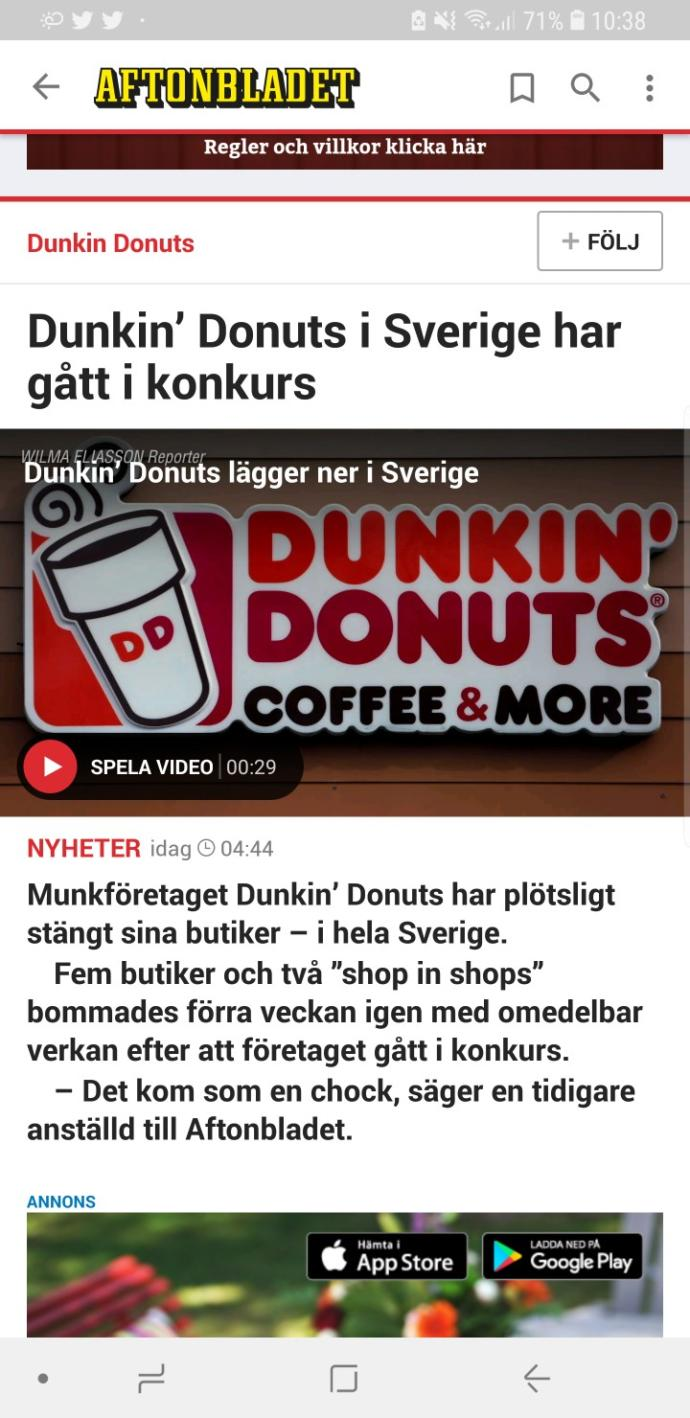 What do you think about Donkin' Donuts going bankrupt?