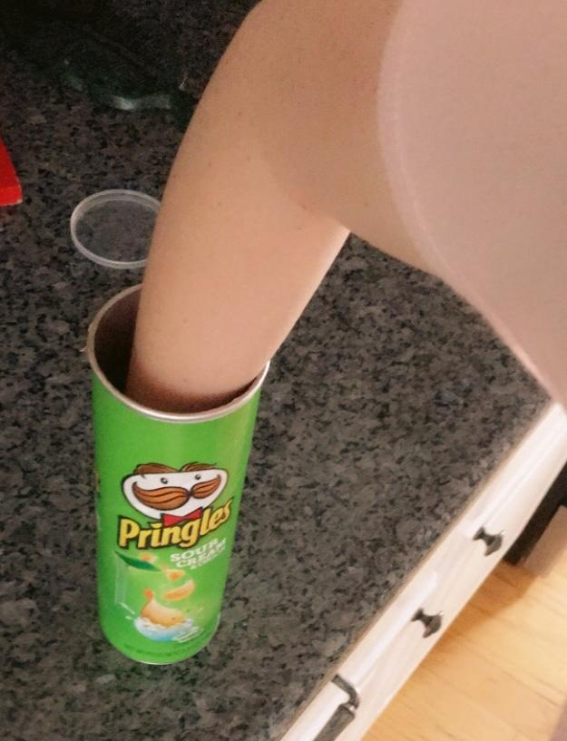 Can you get your hand to the bottom of a Pringles can?