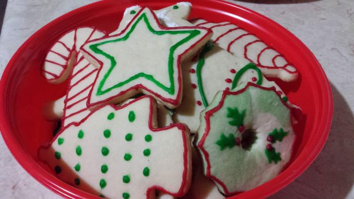 Soft, chewy sugar cookies with peppermint and vanilla extract. Decorated by me!