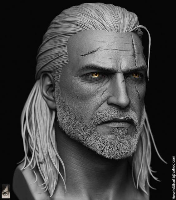 Geralt of Rivia (fan art, though in the book Geralt is younger than this)