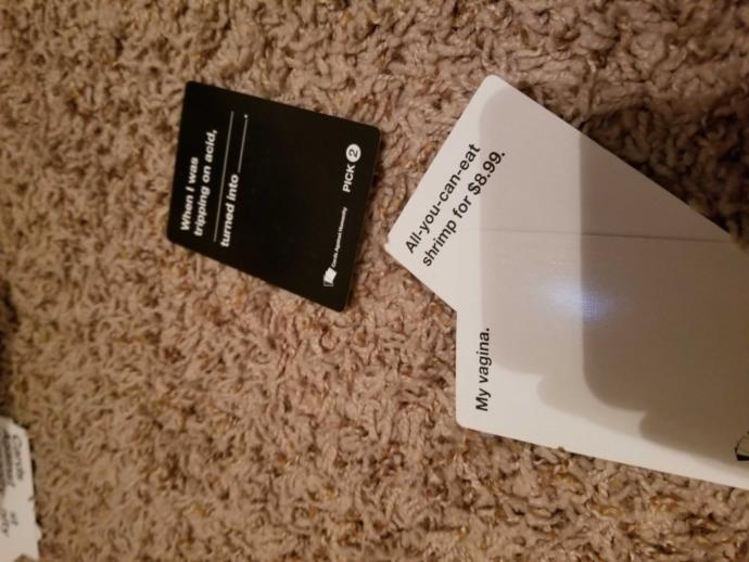 Best card or cards you've made or seen on Cards Against Humanity?