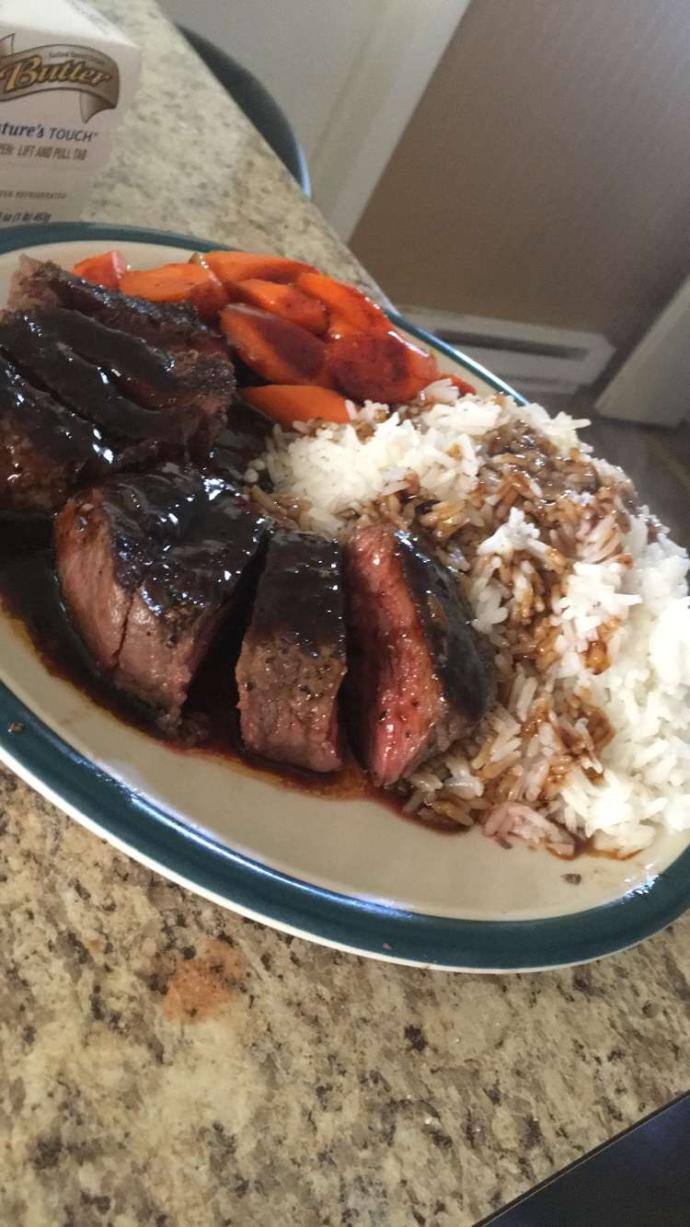 Rate my steak and rice dinner?