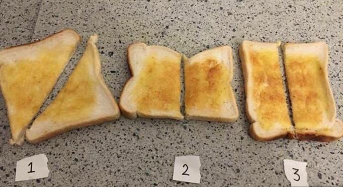 How do you slice your toast?