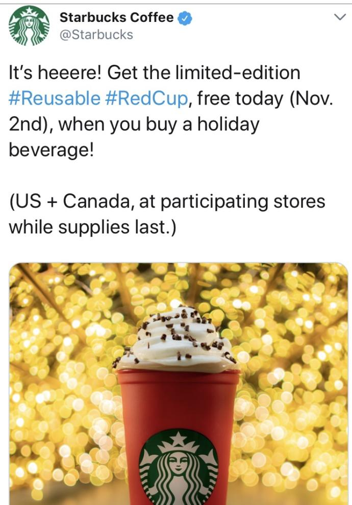 Did you get a free reusable holiday Starbucks cup today (if you go to Starbucks)?