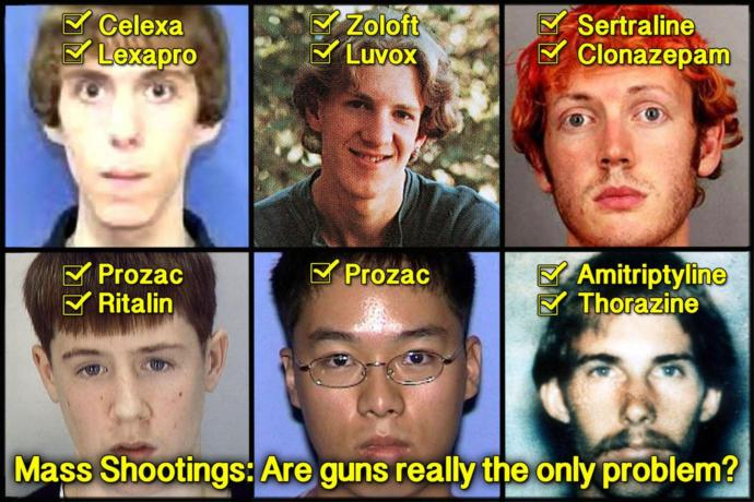 Mass shootings. Do you believe the number 1 cause of mass shootings in America is prescribed Anti-depressants?