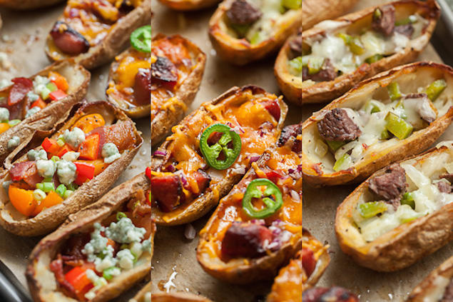 What meat or main dish goes with loaded potato skins?