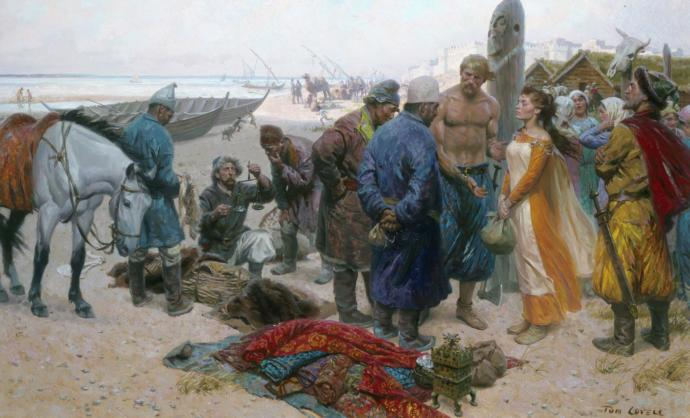 White vikings selling a white girl to Persians and Arabs