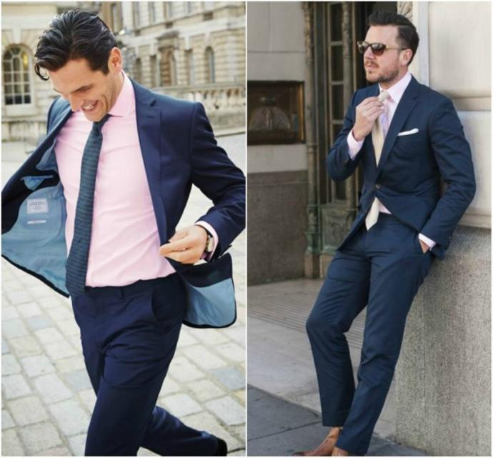 Navy (blue) suit and pink shirt combination, is that good