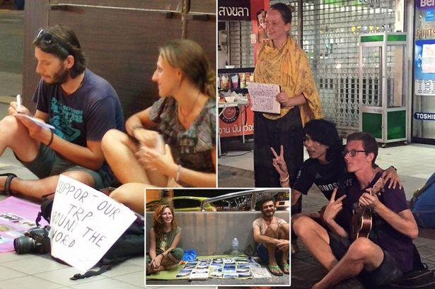 Why do backpackers beg for money from the locals?