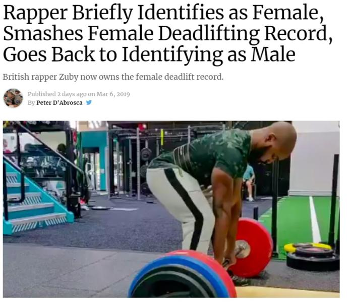 Rapper briefly identifies as female, smashes female deadlifting record, goes back to identify as male, thoughts?