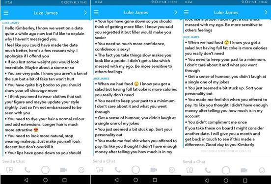 Tinder date sends woman list of improvements after first date. Opinions?