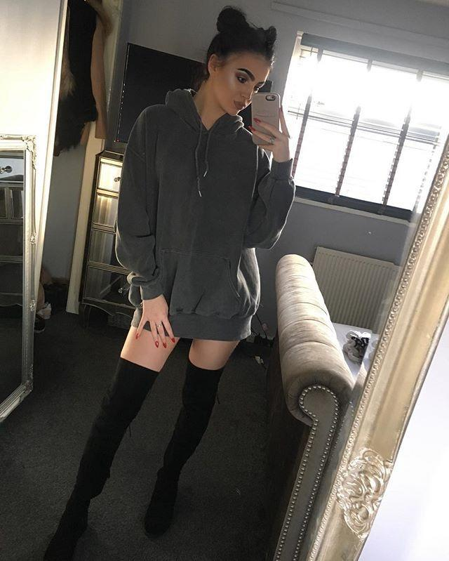 Oversized hoodie + thigh high boots: yay or nay?