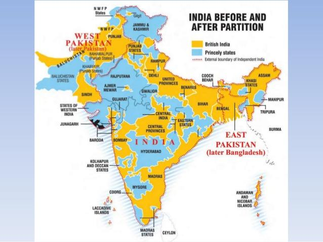 India before and after Partition, British India in yellow, princely states in blue
