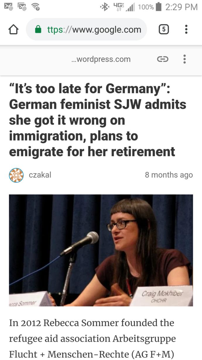 Feminist creator of Refugee Aid Association abandons millions migrants, says its too late for Germany, She will emigrate for retirement, thoughts?